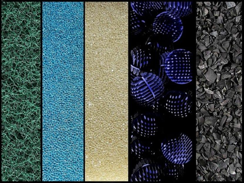 Estructura de materiales filtrantes